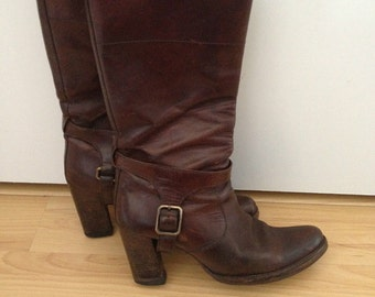 Vintage - Mui Mui Stacked Heel Pirate Mid-Calf Brown Boots