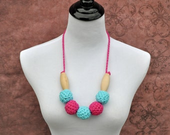 Breastfeeding Jewelry- Pink and Turquoise - Necklace Nursing Accessory
