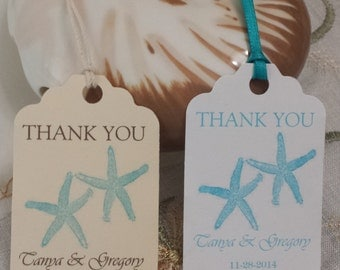 Personalized Beach Favor Tags 2.5Lx1.8w'', Wedding tags, Thank You tags, Favor tags, Gift tags, Bridal Shower Favor Tags,