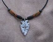 """Little D Cross of Nails Arrowhead Pewter Pendant  Hunting Necklace with Bone Beads on a 20"""" Leather Cord with Nickel Bead Accents"""