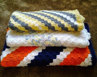 Handmade Diagonal Striped Afghan / Diagonal Striped Blanket / Diagonal Striped Throw, Made to Order in Your Choice of Colors