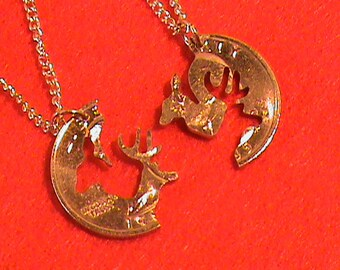 Hand cut US Quarter with the sportsman in mind, Buck and Doe interlocking, 24 Kt Gold plated,  two 24 inch gold tone chains included