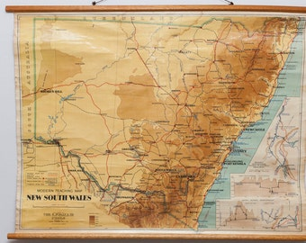 Vintage, cloth, canvas map from circa 1950's showing NSW/Snowy Mountains River Scheme