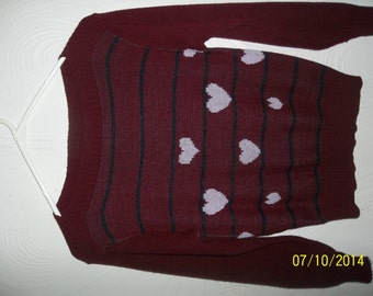 "Burgandy 1980's Vintage Sweater With Hearts-""Brunny"""