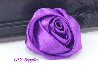 """2"""" Purple rolled rosettes - satin flower - rolled satin flower - wholesale flowers - fabric flower - rolled rose"""