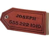Personalized Leather Luggage Tag with Key Ring Leather Keychain, Leather Accessory, Custom Luggage Tag, Leather Bag Tag - Tan or Mahogany
