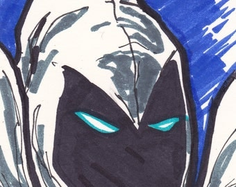 "Moon Knight 2 1/2"" x 3 1/2"" artist trading card ACEO"