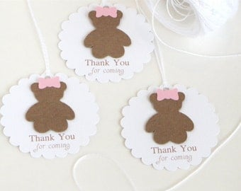 Teddy bear baby shower tags, Girl baby shower favor tags, Pink Baby shower thank you tags, Thank you for coming favor tags, Build a bear