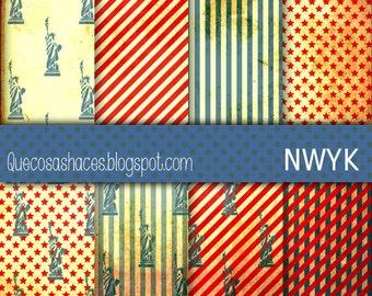 Digital Paper NWYK - Digital paper inspired in New York City, Digital Paper, Vintage