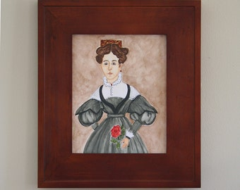 Folk Art Watercolor of  ~ Mid-Nineteenth Century Portrait ~