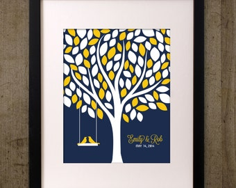 Custom Wedding Alternative Guest Book Tree Personalized Printable Navy and Yellow