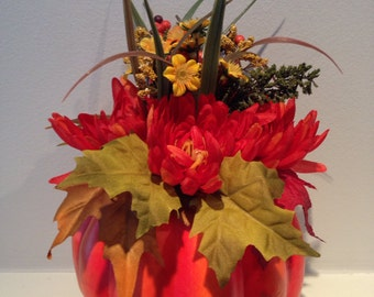 Pumpkin Centerpiece / Fall Centerpiece / Pumpkin Floral Decor / Thanksgiving Decoration / Harvest Arrangement /  Autumn Centerpiece