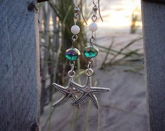 Green Crystal Starfish Dangly Earrings
