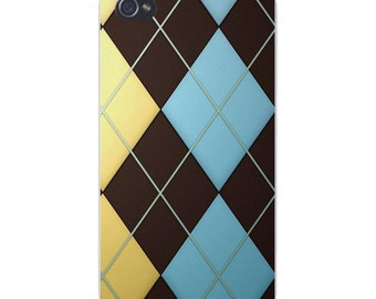 Apple iPhone Custom Case White Plastic Snap on - Argyle Design Blue Red & Green 4884