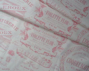 """Last 14"""" x 42"""" of Vintage Paris Tea Pink Toile on Light Cream Background from Holly Holderman for Lake House Dry Goods."""