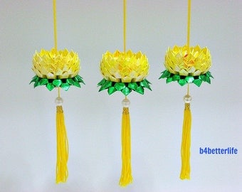Lot of 3pcs Mini Size Yellow Color Origami Hanging Lotus. (RS paper series). #FLT-155.