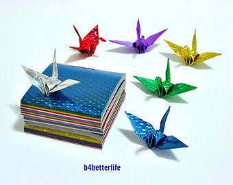 150 sheets of Chiyogami Yuzen Origami Crane Paper Folding Kit. 5.5cm x 5.5cm. (4D Glittering paper series). #CRK-40.