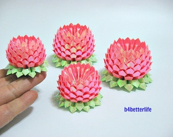 Lot of 4pcs Origami Lotus PINK In 4 Different Sizes. (AV Paper Series).
