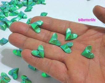 100pcs Green Color Mini Size 3D Origami Hearts LOVE. (TX paper series).