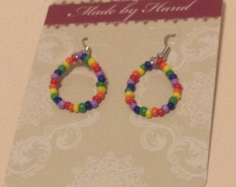 Rainbow Loop Seed Bead Earrings