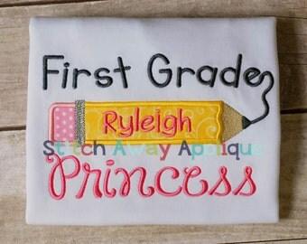 First Grade Princess Back to School Machine Applique Design