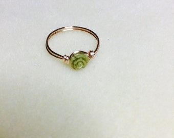 Tiny olive green rose ring