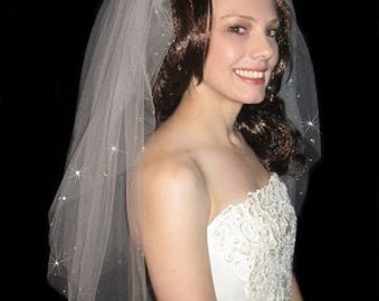 Affordable 2 Tier Wedding Veil Quality Crystals
