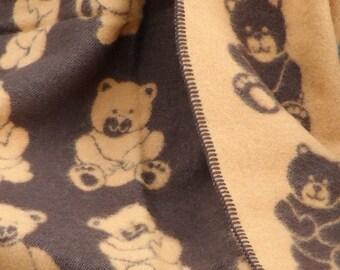 Baby blanket  Pure New  wool throw Teddy bear 90x130cm 35x51 inches,