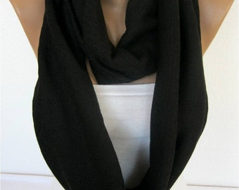 ON SALE - Black Infinity Scarf, Shawl Circle Scarf Loop Scarf,Gift Scarf,trikot Scarf