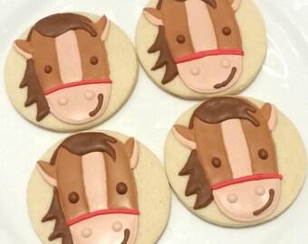 Custom Decorated Gourmet Horse Sugar Cookie Favors Birthday Cookie Girl Baby Shower Boy Baby Shower Gender Reveal Farm Cookie Animal Cookie