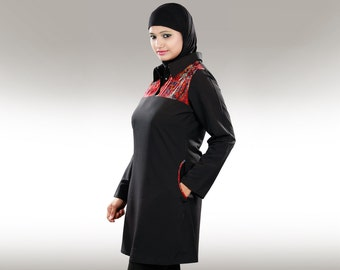 Black Long Tunic/Top KRF034 Casual, Trendy  Muslim Kurti Dress |Hijab |Blouse| Islamic Modest Clothing| Kashibo & Chiffon| Two front pockets