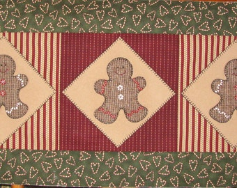 Gingerbread Tablerunner Kit with precut, adhesive-backed wool shapes