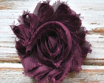 "2.5"" Dark Purple shabby flower trim - frayed chiffon - rose flowers by the yard - CF deep purple"