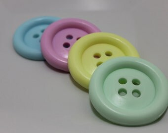 Cute as a Button Soap Gift Set of 4 - Green, Yellow, Pink & Blue - Baby Powder Scented - Party Favors - Baby Shower - Novelty Soap