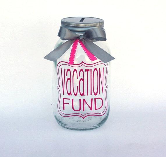 Vacation Fund Mason Jar Bank Coin Slot Lid And Ribbon Large