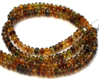 Faceted Amber Colored Tourmaline Beads 4mm- 8 inches