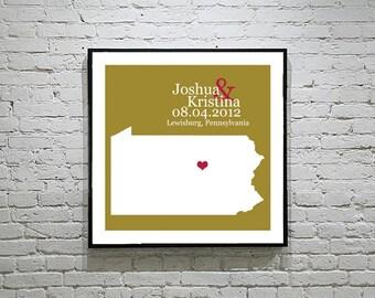 Pennsylvania Wedding Gift Custom State Map Personalized Couple Art Personalized Pennsylvania Map State Map Art Personalized