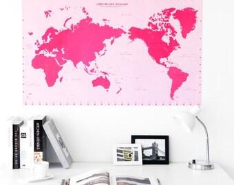World Map [ Cherry Pink ]
