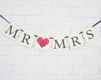 Mr and Mrs banner, bridal shower banner, bride and groom banner, bride groom sign, wedding decorations, wedding banner,mr & mrs chair banner