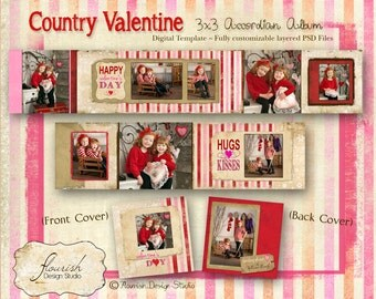 INSTANT DOWNLOAD: 3x3 Valentines Mini Accordion Album Template - Country  Valentine Accordion Mini