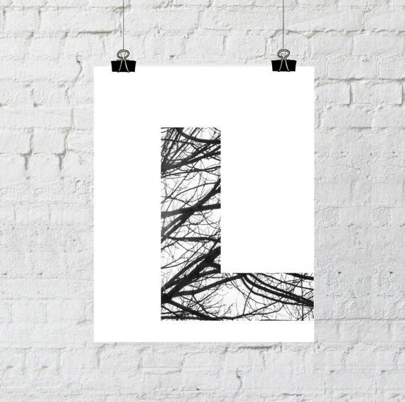 "Black & White Letter ""L"" Tree Branch Art Print. 8x10 Typographic Home Decor. Instant Digital Download Printable Wall Art-ADOPTION FUNDRAISER"