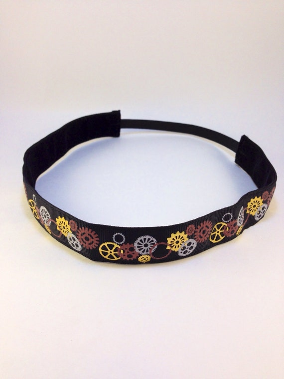 Black & gold foil steampunk inspired gears non-slip headband for everyday and active wear