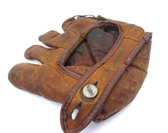 vintage leather Hutch baseball glove oil treates
