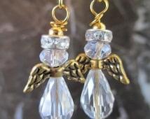 Golden Fairy Guardian Aura Angel Crystal Artisan Handcrafted Earrings