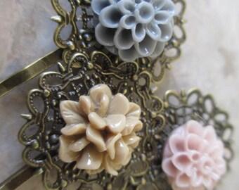 Hair Accessories, Pretty Bobby Pins, Flower Hair Pins, Flower Bobby Pins Set in Tan Grey & Pink