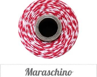 10 yards/ 9.144 m Maraschino Red and White Twine, Bakers Twine
