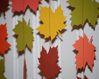 Autumn Leaves Paper Garland, Fall Decor, Party Decor, Pumpkin Patch, Photo Prop