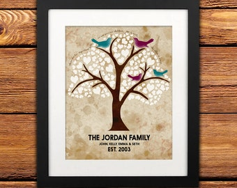 DIGITAL Print Family Tree Personalized Established Date - Family Name and Birds - Printable Art 8x10