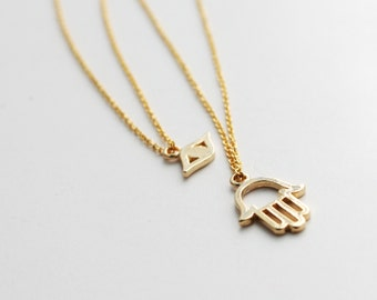 Hamsa Hand With Evil Eye Charm Necklace, Double Layered Necklace, Hamsa Together With Evil Eye