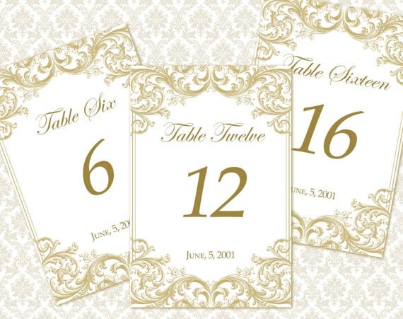 Diy printable wedding table number template by weddingsbyjaniev for Wedding table numbers template